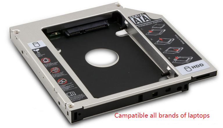 9.5 mm Aluminum HDD Caddy SATA 3.0 2nd 9.5mm SSD Case HDD Enclosure